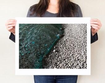 Beach photography print, dark water grotto artwork. Yin yang coastal decor. Minimal seaside large modern wall art. Kefalonia Greece