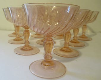 Arcoroc ROSALINE Pink Swirl Champagne Sherbert Cristal d'Arques Glass France.