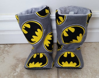 Batman baby boots- infant to toddler- non slip sole - flexible shoes