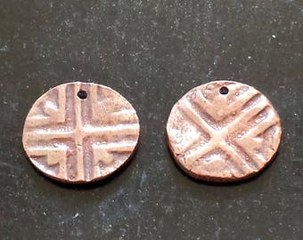 Bronze PMC Earring Charms - Handmade Earring Components - Textured Earring Charms - PMC Jewelry Supplies - Artisan Charms - Organic Charms