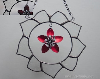 Stained Glass Clear Glass Wreath with Scale Maille Red Flower - mixed media