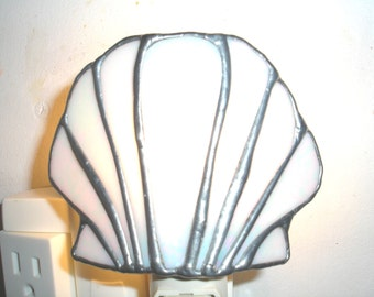 LT Stained glass Shell night light lamp made with white iridescent opal glass