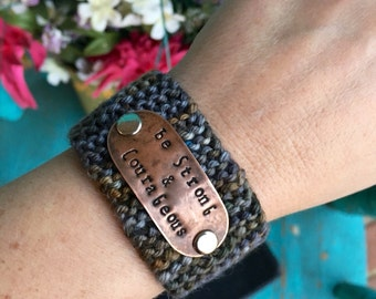 Christian Bracelet, Knit Bracelet, Be Strong and Courageous Scripture Jewelry, Grey and Brown Cuff