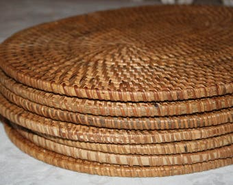 7 Seven VIntage Rattan Thick Oval Placemats Chargers Like New Balinese Style