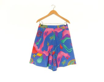 Vintage Summer Skort Skirt Shorts / Bright Blue Multicolor Colorful / Bold Abstract Print / medium