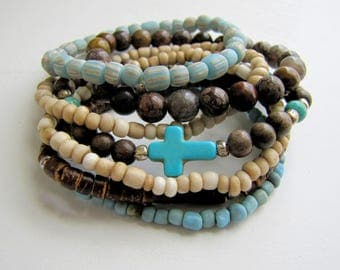 Bracelet Stack Turquoise Cross Bracelet Set Boho Bracelets Wood Bracelet Stack Bracelet Beach Jewelry Resort Jewelry Jasper Tribal Jewelry