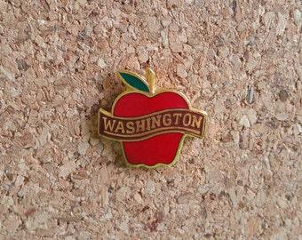 Washington Vintage Enamel Pin | Washington State | Apple | Red Delicious | Fruit | Cloisonne | Lapel