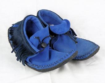 Blue Suede Fringe Moccasins