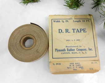 vintage Plymouth Rubber Company DR Tape new old stock double rubber tape with varnished cambric dated 1974 vintage electrical tape man cave