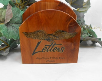 Vintage letter holder Roy Rogers and Dale Evans Museum wood letter holder advertising eagle Wood letter holder wood mail holder bill storage