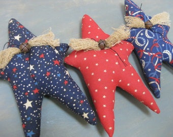 Americana Primitive Star Bowl Fillers- 3 Grungy Fabric Stuffed Stars - Primitive July 4th Decor - Patriotic Bowl Filler - Americana Decor