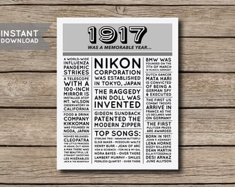 INSTANT DOWNLOAD - 100th Birthday Poster, 1917 Poster, 1917 Facts, 1917 Trivia, Newspaper Style Poster, 100th Birthday Print