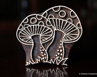 woodblock stamps, Indian Wood Stamps, Blockprint Stamps, Tjaps, Pottery Stamps - Toadstool Mushrooms
