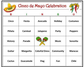 Cinco de Mayo Party Bingo Game (60 Cards) Mexican Party Bingo Words -Very Fun! Print and Play!