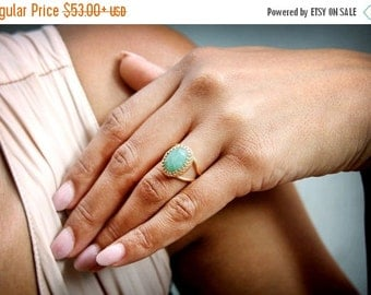 SUMMER SALE - Rose gold Aventurine ring,green ring,gemstone ring,green aventurine ring,semiprecious ring,pink gold rin
