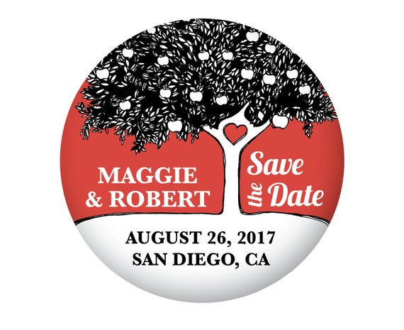 Apple Save The Date Magnets for Wedding, Red with Hand Drawn Apple Tree and Heart, Outdoor, Farmhouse Wedding, 20 Pieces Per Order