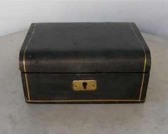 LEATHER JEWELRY BOX English Edwardian Trinket Box Black Leather Gold Edging Red Silk Interior Brass Lock & Hinges English 1940-1950's