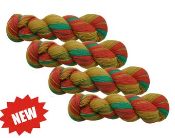 MULTICOLORED 100% WOOL yarn, 4 skeins - 400gr (4 x 100 gr). laceweight, 1 ply
