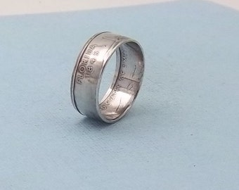 Silver coin ring Florida State quarter year 2004 size7, Great Birthday Gift, jewelry, unique  gift FREE SHIPPING