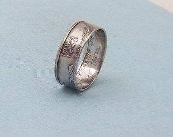 Silver coin ring  Iowa State quarter year 2004 size 8 1/2, 90% fine silver jewelry unique  gift FREE SHIPPING