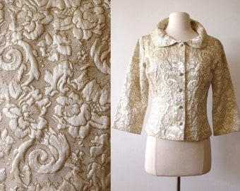 50's Party Gold Ivory Brocade Jacket ~ Hollywood Glam Occasion Top ~ Wedding
