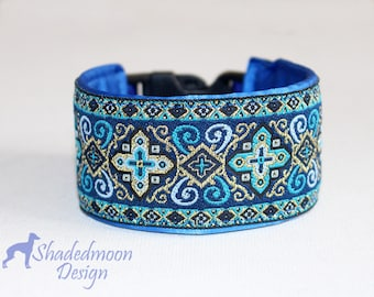 Italian Greyhound Collar Arabian Nights Collection - Royal Blue Jacquard Wide Clip, Wide Semi Slip or Martingale  - scroll down to details