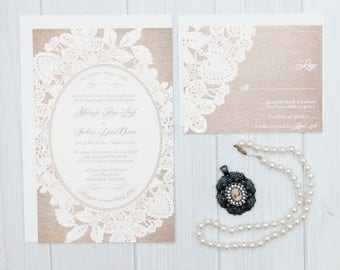 Burlap and Lace Wedding Invitations | Rustic Wedding Invitation Suite | Boho Invite Set | Lace Wedding Invites | Sample Set