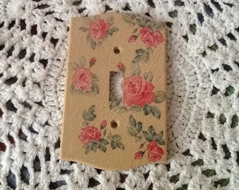 Vintage Switch Plate Cover Pink Roses Bedroom Decor