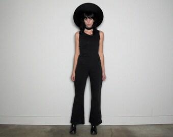 RARE Black JUMPSUIT Wide Leg LONG Length Womens Size Xs/s