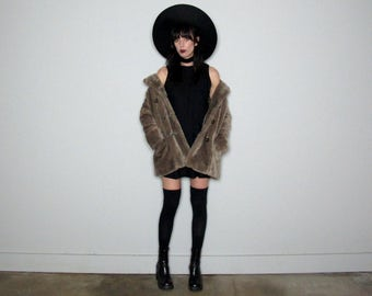 SALE Price Reduced Dusty Rose Light Tan FAUX FUR Jacket Vintage 80s Womens Size S/M