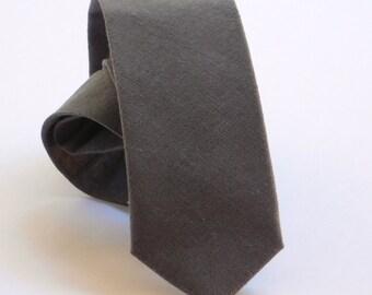 Deep grey linen neck tie. Dark grey necktie standard or skinny made to order