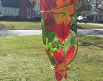 Bird Feeder, Hand Painted Bird Feeder, Recycled Bottle bird feeder