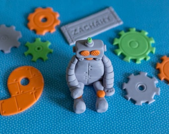 Fondant Robot, Cog, Name and Age Cake Decorations Perfect for Robot Party Cake