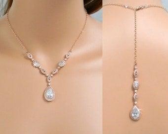 Bridal Backdrop Necklace, Rose Gold Backdrop Necklace, Vintage style Y Necklace, Bridal necklace, Bridal Jewelry, Christine Bridal Necklace