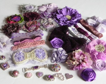 Purple Headband Kit of Supplies Sparkle FOE Assorted Rhinestone Centers Mixed Flowers Connector Crowns and Bows Birthday Princess Valentines