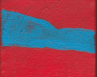 Original Contemporary Abstract Painting 4 x 4 inches Artist with Autism Red Blue Wall Decor Art Design