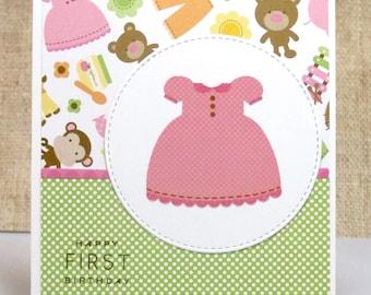 First Birthday Card- Baby Girl Birthday Card- Girl Birthday Card- Birthday Cards