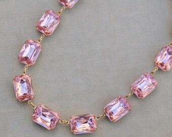 NEW Large Blush Peach Pink Rhinestone Jewel Tennis Necklace,Octagon Anna Wintour Style,Statement,Crystal Choker,Statement,Bridal,Wedding