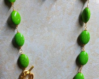 Ayla's Bead Creations Acrylic Hand wired  Green Mosaic Necklace with matching earrings.