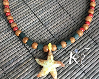 lampworking glass starfish pendant wood bead necklace