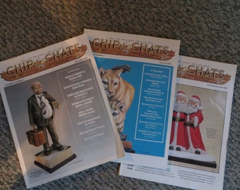 Eleven Chip Chats Magazines, wood carving, chip chats, magazines