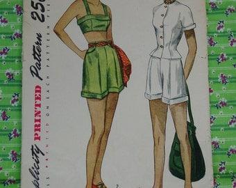 Vintage Pattern c.1949 Simplicity No.2825 Jacket,Bra,Shorts Size 12