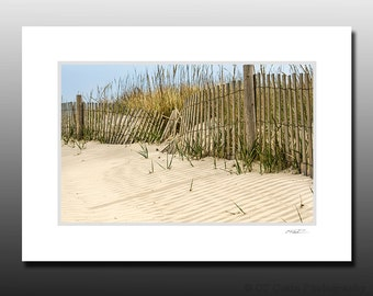 Beach Themed Small Matted Photography Print, Avalon NJ, Cubicle Wall Decor, Small Matted Print Fits 5x7 inch Frame