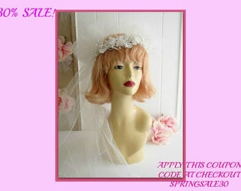 wedding,  headpiece, 70's headpiece, bridal, 30% SALE,  tulle poof, pearls, fingertip veiling, vintage, timelesspeony