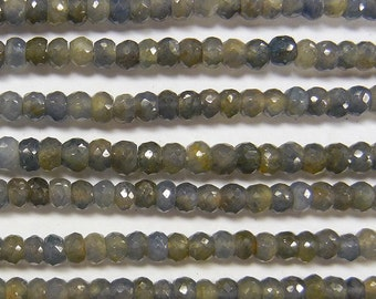 Natural blue and yellow sapphire beads, 4mm faceted rondelle, one 13.5 inch strand, (GSS-35), AAA quality, gemstone quality