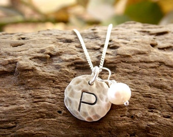 Initial Necklace Hand Stamped Sterling Silver Hammered Disc