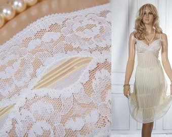 Superb as new 'Charmor' sheer lemon and white striped Trevira nylon and delicate white lace detail 60's vintage full slip petticoat - 3783