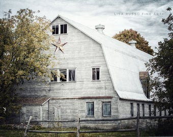 Farmhouse Decor Fixer Upper White Barn Landscape