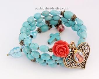 Rosary Bracelet Wrap,Wrist Rosary Bracelet,Dyed Howlite,Catholic Religious Jewelry,Bridesmaid,Confirmation,Mother or Godmother's gift,212