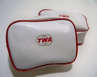 Vintage TWA Royal Ambassador Complimentary Toiletries Bag Set of 2